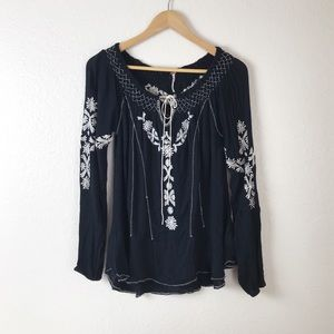 Free People Embroidered Peasant Top S